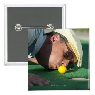 USA, Utah, Orem, Man blowing air to push golf 2 Inch Square Button