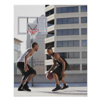 USA, Utah, Salt Lake City, two young men playing Poster
