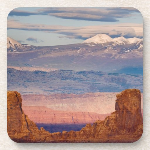 USA, Utah. Scenic of La Sal Mountains from Dead Beverage Coaster
