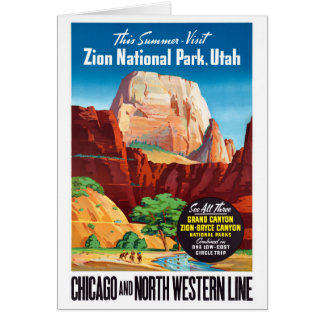 USA Utah Vintage Travel Poster Restored Card