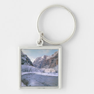 USA, Utah, Zion NP. New snow covers the canyon Silver-Colored Square Keychain