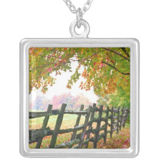 USA, Vermont. Fence under fall foliage. Silver Plated Necklace