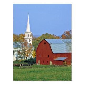 USA, Vermont, Peacham. A red barn and white Postcard