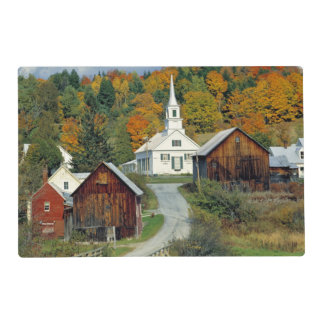 USA, Vermont, Waits River. Fall foliage adds Laminated Placemat