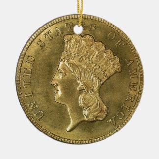 """USA vintage 1854 three dollar piece-Ornament"" Round Ceramic Ornament"