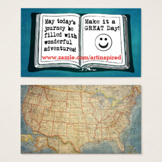 USA Vintage Map Inspirational Words To Live By Business Card