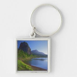 USA, Washington, Beacon Rock State Park, Beacon Silver-Colored Square Keychain