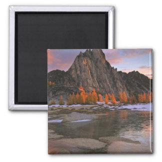USA, Washington, Cascade Mountains.  Prusik Peak Square Magnet