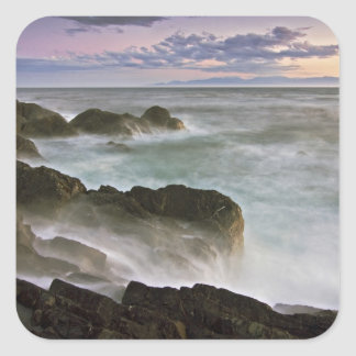 USA, Washington, San Juan Islands.  Waves crash Square Sticker