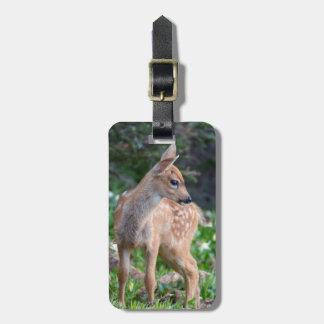 USA, Washington State. Blacktail Deer Fawn Travel Bag Tags