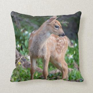 USA, Washington State. Blacktail Deer Fawn Throw Pillows