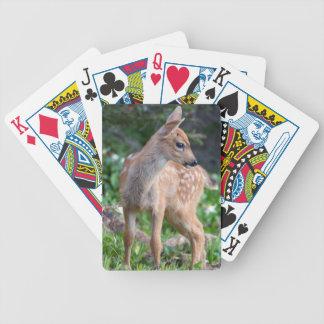 USA, Washington State. Blacktail Deer Fawn Bicycle Poker Deck