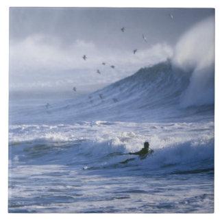 USA, Washington State, La Push. Man kayak Ceramic Tile