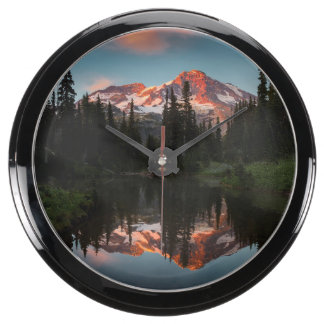 USA, Washington State. Mt. Rainier Reflected Aquarium Clock