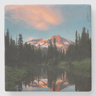 USA, Washington State. Mt. Rainier Reflected Stone Coaster