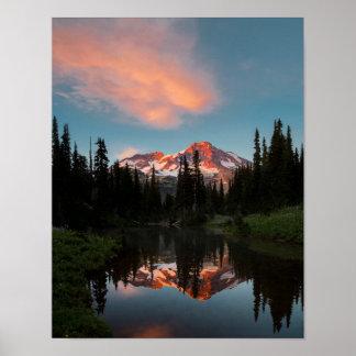 USA, Washington State. Mt. Rainier Reflected Posters