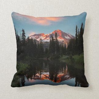 USA, Washington State. Mt. Rainier Reflected Throw Pillow