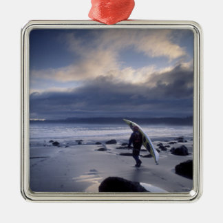 USA, Washington State, Olympic National Park. Silver-Colored Square Ornament