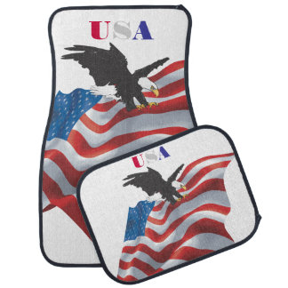 USA Waving Flag and Eagle Car Mat