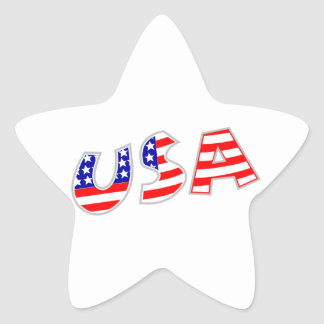 USA with American Flag Pattern Star Stickers
