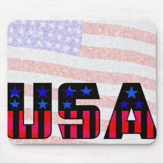 USA with Flag Fuzzy in Background Mouse Pad