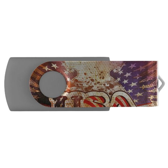 USA with wings Swivel USB 2.0 Flash Drive