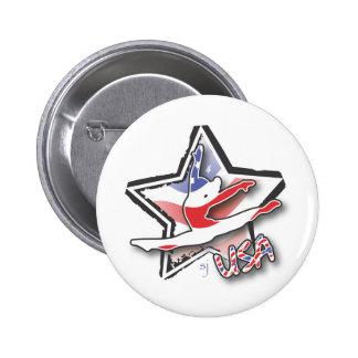 USA Women's Gymnastics 2 Inch Round Button