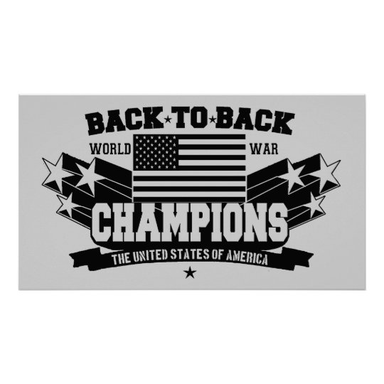 USA World War Champions Black & White Poster