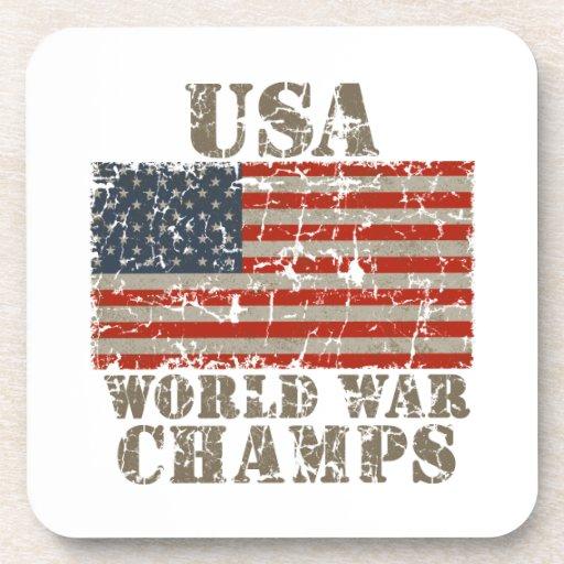 USA, World War Champions Drink Coasters