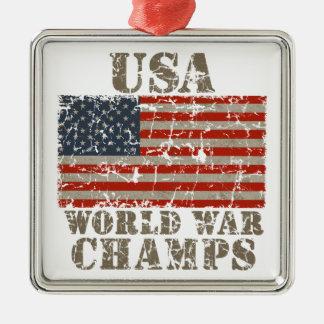USA, World War Champions Silver-Colored Square Ornament