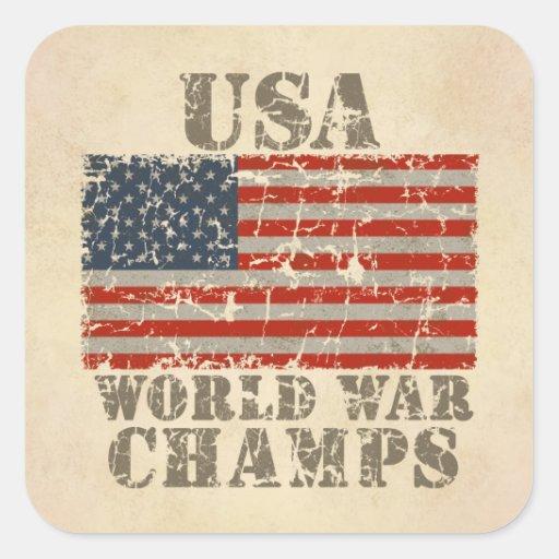 USA, World War Champions Square Stickers