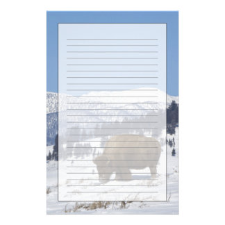 USA, WY, Yellowstone NP, American Bison Bison Stationery Design