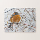 USA, Wyoming, American Robin roosting on willow Jigsaw Puzzle