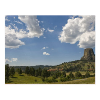 USA, Wyoming, Clouds over Devil's Tower Postcard