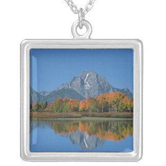 USA, Wyoming, Grand Tetons National Park in 4 Silver Plated Necklace