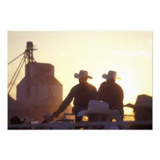 USA, Wyoming, Pine Bluffs. Two men shake Photo Art
