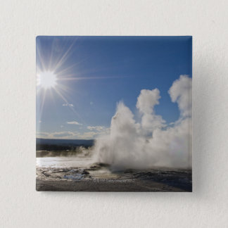USA, Wyoming, Sun over steaming thermal pool 2 Inch Square Button