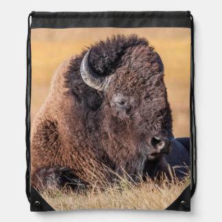 USA, Wyoming, Yellowstone National Park, Bison Drawstring Backpacks