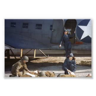 USAAF Flight Nurses and Medic Caring for Wounded Photo Print