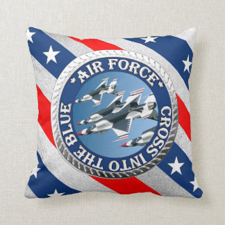 USAF, Cross into the Blue Throw Pillow