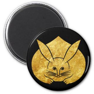 Usagi kamon japanese rabbit in faux gold on black magnet