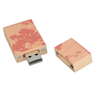 USB 2.0 PINK HUMMINGBIRD WOOD USB 2.0 FLASH DRIVE