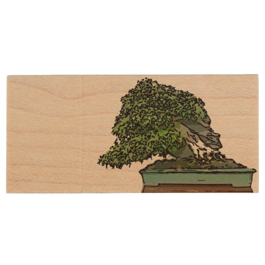 USB memory of stone equipped maple bonsai Wood USB 3.0 Flash Drive