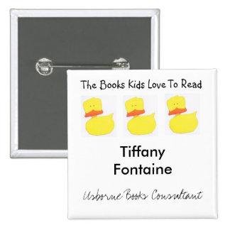 Usborne Books duck name tag 2 Inch Square Button