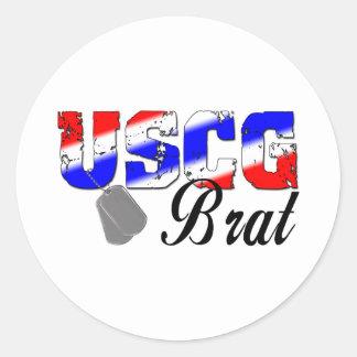 USCG Brat - Red, White and Blue Round Sticker