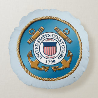 "USCG Brushed Polyester Round Throw Pillow (16"")"