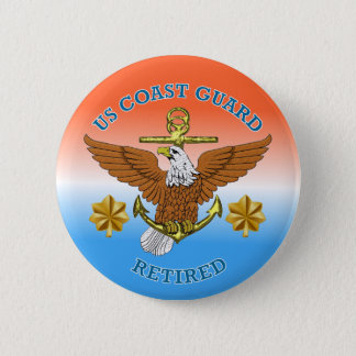 USCG LCdr Retired Eagle Anchor Shield 2 Inch Round Button