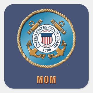 USCG Mom Square Stickers, Glossy Square Sticker