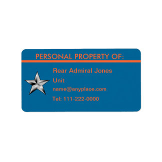 USCG Rear Admiral Personal Property Label