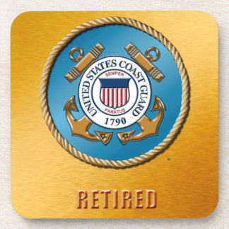 USCG RET 6 Hard Plastic coasters with cork back.
